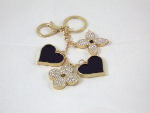 Taschenanhänger oder Schlüsselanhänger mit Strass und schwarzer Rückseite